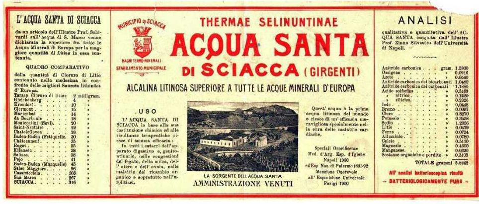 etichetta acqua minerale di Sciacca